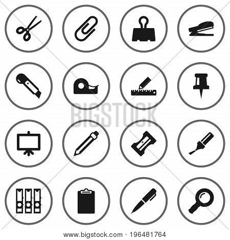 Set Of 16 Instruments Icons Set. Collection Of Paper  Clamp, Clippers, Knife And Other Elements.