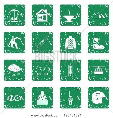 Snowboarding icons set in grunge style green isolated vector illustration