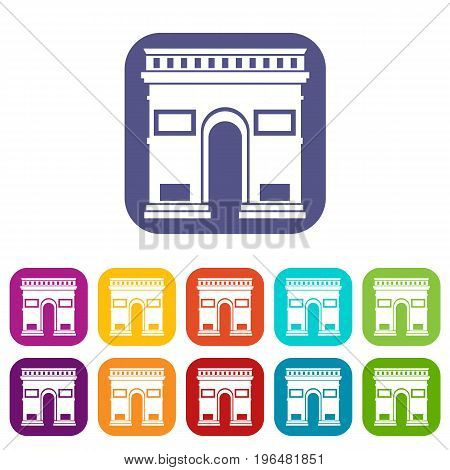 Triumphal arch icons set vector illustration in flat style in colors red, blue, green, and other