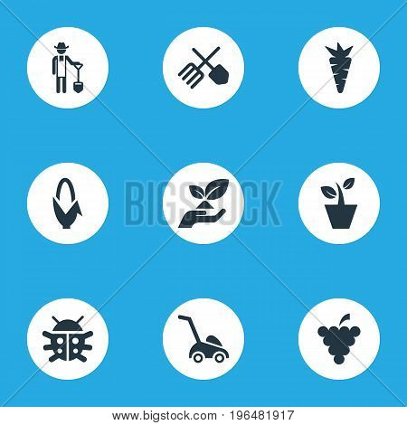 Elements Root, Rescue Nature, Flowerpot And Other Synonyms Horticulture, Corn And Vegetable. Vector Illustration Set Of Simple Gardening Icons.