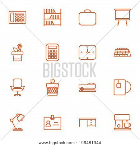 Collection Of Coffee Maker, Staple, Calendar And Other Elements. Set Of 16 Workspace Outline Icons Set.