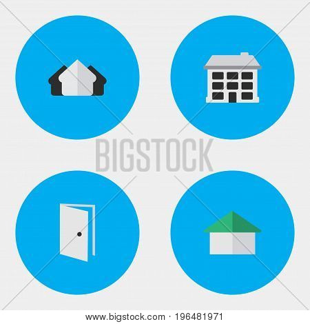 Elements Entry, Structure, Architecture And Other Synonyms Estate, Building And Open. Vector Illustration Set Of Simple Property Icons.