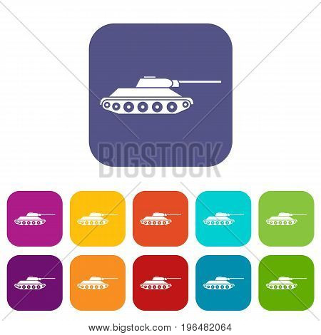 Tank icons set vector illustration in flat style in colors red, blue, green, and other