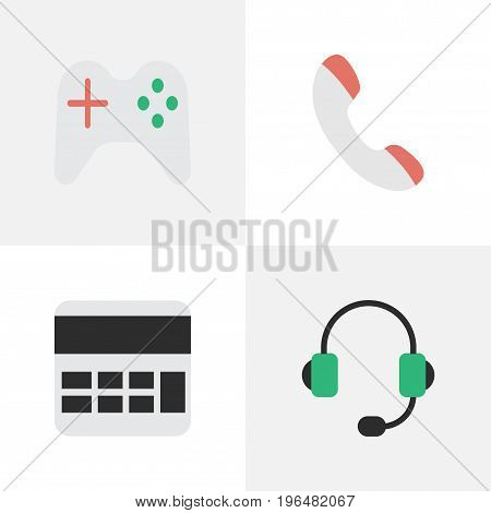 Elements Accounting, Microphone, Gamepad And Other Synonyms Handset, Controller And Calculate. Vector Illustration Set Of Simple Gadget Icons.