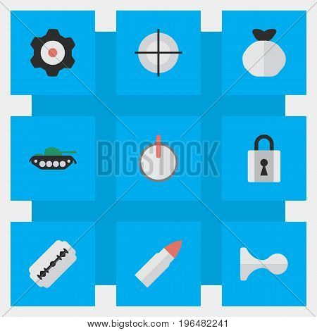 Elements Cogwheel, Shot, Closed And Other Synonyms Sniper, Padlock And Military. Vector Illustration Set Of Simple Crime Icons.