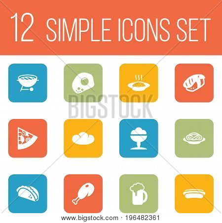 Set Of 12 Dish Icons Set. Collection Of Mexican Food, Ale, Japanese Roll And Other Elements.