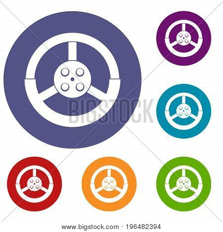 Steering wheel icons set in flat circle red, blue and green color for web
