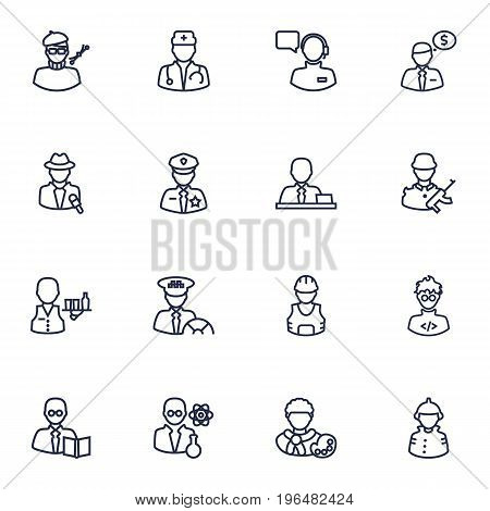 Set Of 16 Position Outline Icons Set. Collection Of Doctor, Taxi, Servant And Other Elements.