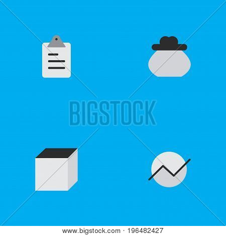 Elements Square, Diagram, Wallet And Other Synonyms Square, Clipboard And Task. Vector Illustration Set Of Simple Job Icons.