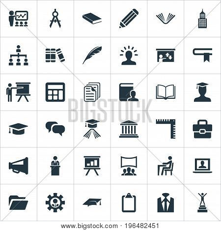 Elements Training, Mathematics, Success And Other Synonyms Library, Outfit And Master. Vector Illustration Set Of Simple Speaker Icons.