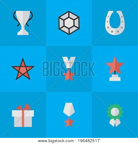 Vector Illustration Set Of Simple Reward Icons. Elements First, Metal, Present And Other Synonyms Horseshoe, Premium And Prize.