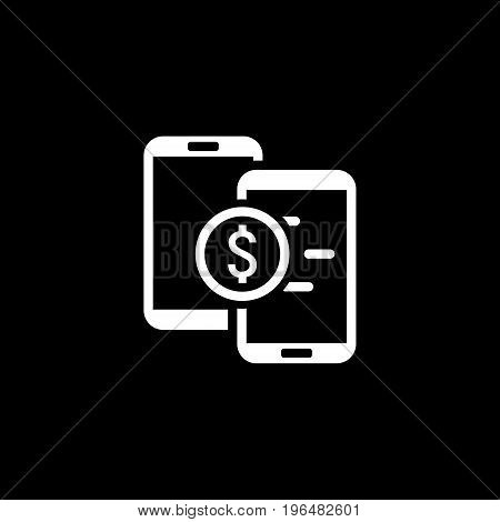 Mobile Payment Icon. Flat Design. Mobile Devices and Services Concept. Isolated Illustration.