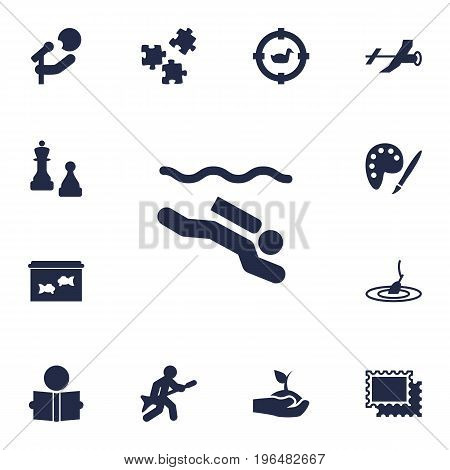 Set Of 13 Entertainment Icons Set. Collection Of Rod, Collecting, Checkmate And Other Elements.