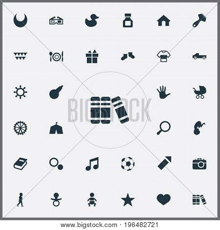 Vector Illustration Set Of Simple Baby Icons. Elements Dictionary, Sparkler, Stereo Movie And Other Synonyms Book, Firework And Rubber.