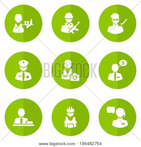 Collection Of Producer, Manager, Cameraman And Other Elements. Set Of 9 Job Icons Set.