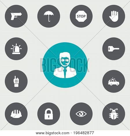 Collection Of Patrol, Open, Padlock And Other Elements. Set Of 13 Security Icons Set.