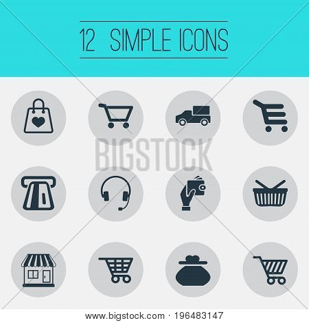 Elements Grocery, Shop Trolley, E-Commerece And Other Synonyms Holding, Online And Basket. Vector Illustration Set Of Simple Purchase Icons.