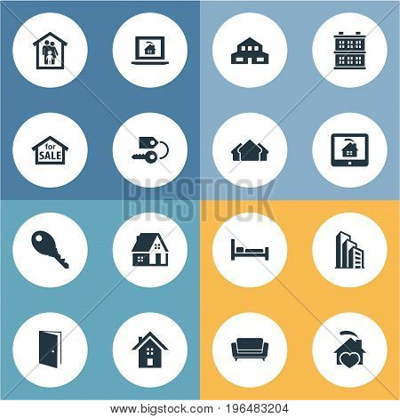 Elements Structure, Online Property, Apartment And Other Synonyms Residence, Estate And Entrance. Vector Illustration Set Of Simple Property Icons.