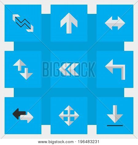 Vector Illustration Set Of Simple Arrows Icons. Elements Back, Loading, Cursor And Other Synonyms Export, Internet And Import.