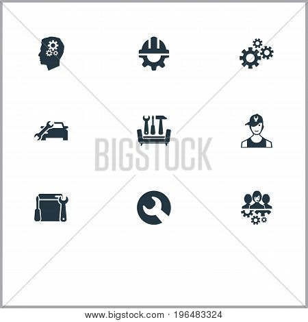 Elements Automobile Salon, Intelligence, Industry And Other Synonyms Engine, Helmet And Safety. Vector Illustration Set Of Simple Help Icons.