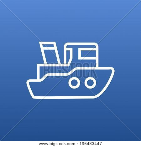 Isolated Boat Outline Symbol On Clean Background. Vector Ship Element In Trendy Style.