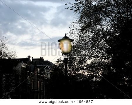 Amsterdam Street Light At Twilight