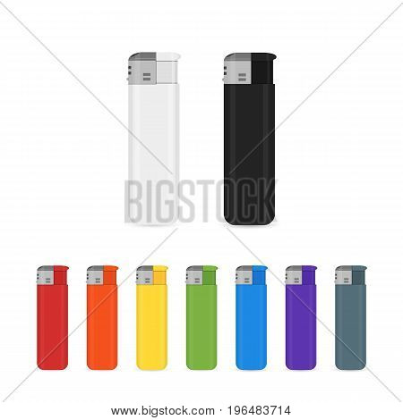 Vector set of flat cigarette lighter icons. Diffrent fire lighter tools for tobacco smoker. Isolated logo or sign design illustration.