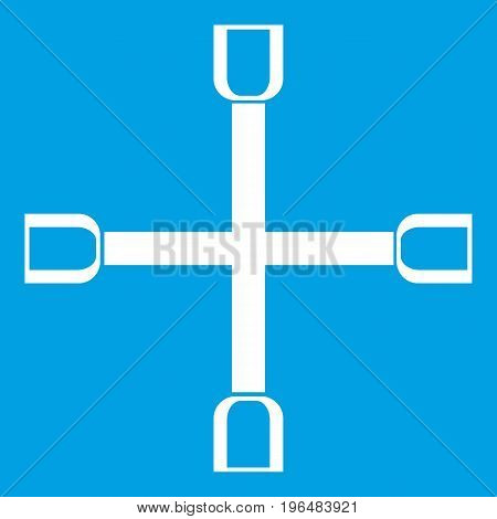 Wheel wrench cross icon white isolated on blue background vector illustration