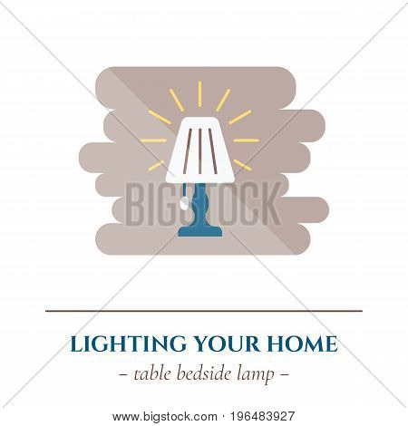 Vector simple flat icon for well healhty night sleep isolated on white background. Sleep bedroom table light lamp
