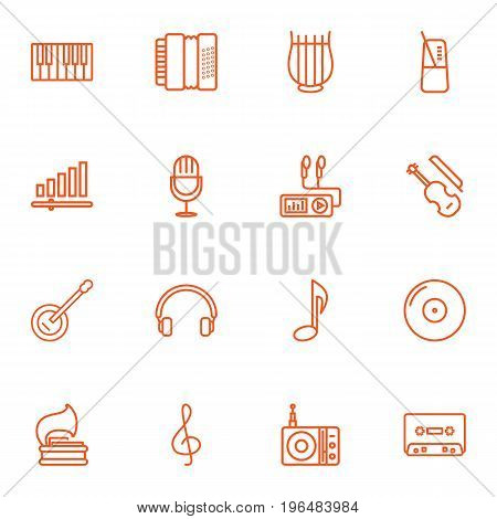 Collection Of Vinyl, Stringed, Headphones And Other Elements. Set Of 16 Music Outline Icons Set.