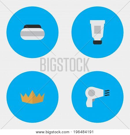 Elements Crown, Blow-Dryer, Toothpaste And Other Synonyms Crown, Toothpaste And Cream. Vector Illustration Set Of Simple Elegance Icons.