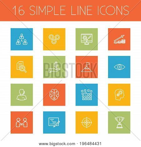 Collection Of Money Saving, Eye, Working Process And Other Elements. Set Of 16 Startup Outline Icons Set.