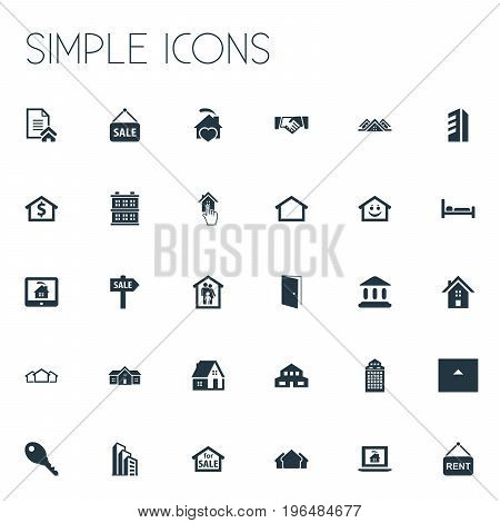Elements Promotion, Advertising, Residential And Other Synonyms Skyscraper, Entrance And Sign. Vector Illustration Set Of Simple Property Icons.