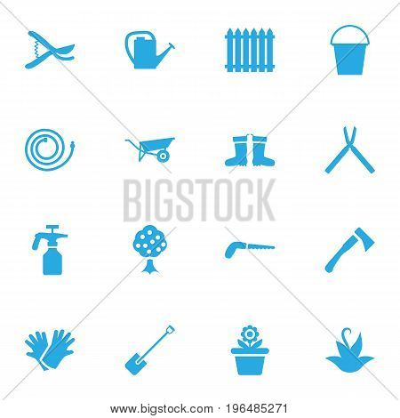 Collection Of Garden Hose, Scissors, Rubber Boots And Other Elements. Set Of 16 Horticulture Icons Set.