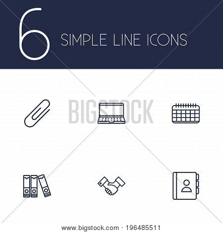 Set Of 6 Work Outline Icons Set. Collection Of Partnership, Telephone Directory, Date And Other Elements.
