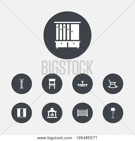 Collection Of Rocking Furniture, Cupboard, Luster And Other Elements. Set Of 9 Set Icons Set.