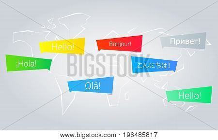 Colored speech bubbles with the text Hello in different languages. English French Spanish Japanese Russian Portuguese. The message looks like a megaphone. Vector illustration. Light background. Eps10.