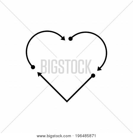 Arrows. Heart. Isolated vector objects on white background.