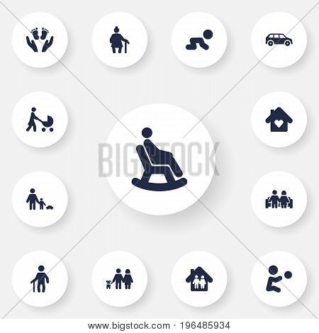 Set Of 13 Relatives Icons Set. Collection Of Family In Home, Father With Son, Perambulator And Other Elements.