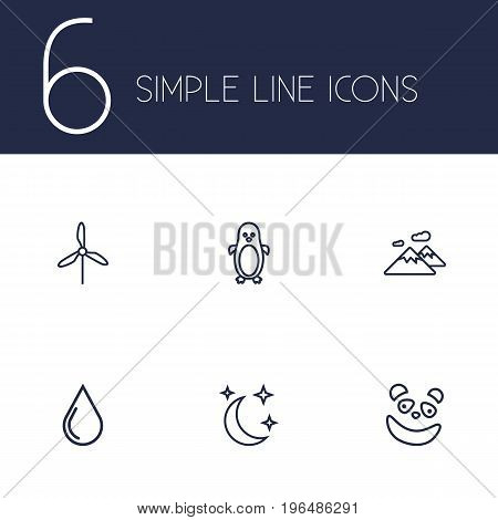 Set Of 6 Bio Outline Icons Set. Collection Of Moon With Star, Electric Mill, Water Drop And Other Elements.