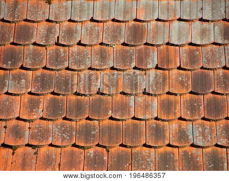 Red Industrial Tile Roof with Alga and Patina background