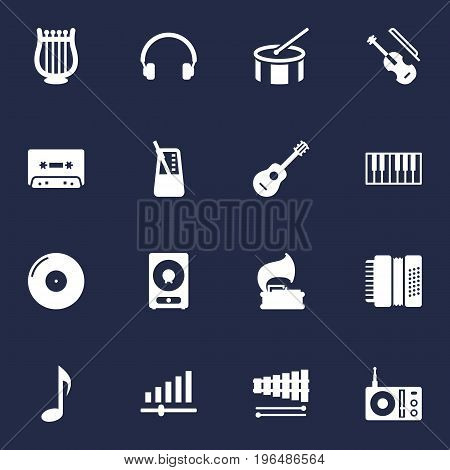 Collection Of Radio, Knob, Tone Symbol And Other Elements. Set Of 16 Melody Icons Set.