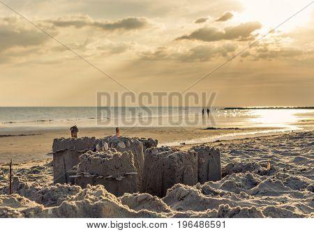 Sandcastle on the beach by the ocean