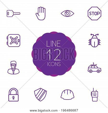 Set Of 12 Procuring Outline Icons Set. Collection Of Virus , Walkie-Talkie, Hand Elements.