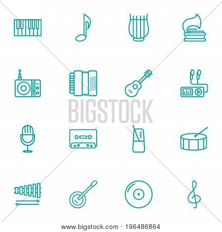 Set Of 16 Music Outline Icons Set. Collection Of Stringed, Note, Acoustic And Other Elements.