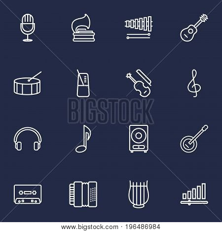 Set Of 16 Music Outline Icons Set. Collection Of Acoustic, Amplifier, Stringed And Other Elements.