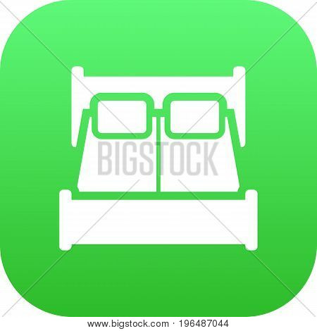 Isolated Double Bed Icon Symbol On Clean Background