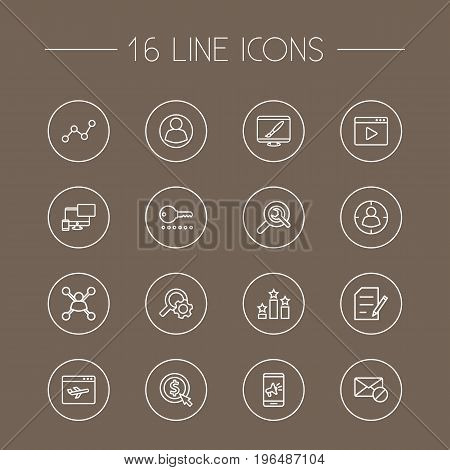 Set Of 16 Optimization Outline Icons Set. Collection Of Wrench, Stock Exchange, Landing Page Elements.