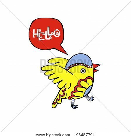 Hello. Birdie. Isolated vector object on white background.