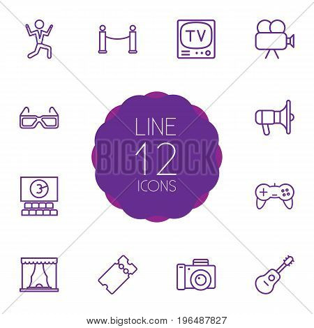 Collection Of Guitar, Cinema, Ticket And Other Elements. Set Of 12 Pleasure Outline Icons Set.